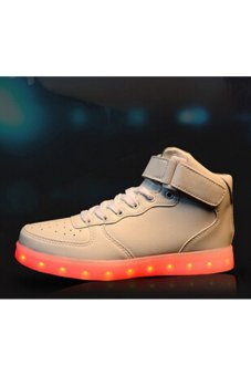 Couples USB Charging LED Sport Shoes High Cut Flashing Sneakers (White) (Intl)