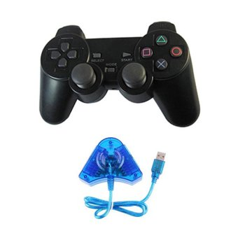Sony 1 Stik PS2 Original Pabrik + 1 Converter Usb - Buat Main Game Di PC & PS3