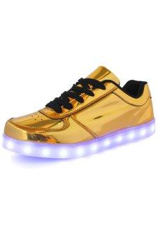 harga JustCreat Fashion Unisex Shining Board Shoes Colorful LED Light Shoes Luminous Shoes(Golden) Lazada.co.id
