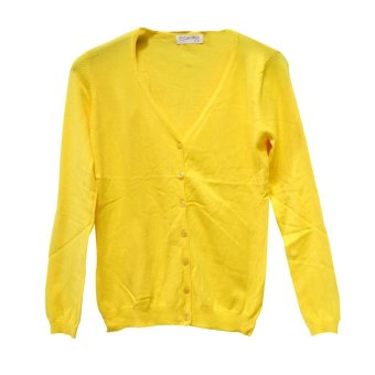 harga Candies Cardigan V Neck Wanita 8928 Kuning Telur Lazada.co.id