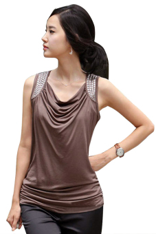 Azone Elegant Slim Casual Women T Shirt Tops Blouse Summer (Coffee) - Intl