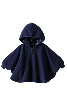 harga Baby Two-Sided Wear Reversible Children's Cape Outerwear Jacket Clothing Coat Velvet Cloak Hoodie (Navy Blue) Lazada.co.id