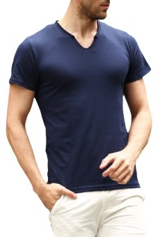 EOZY New Fashion Men's Casual Short Sleeve T-Shirts Korean Style Male Outdoor Sports Skinny Slim Soft T-Shirts Clothing Tops (Dark Blue) - INTL