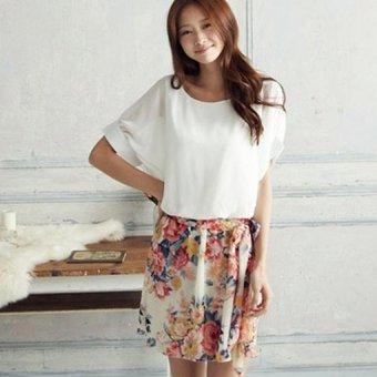 Cyber Women Dress Charming Summer Short Sleeve Chiffon Floral Dress ( White ) (Intl)
