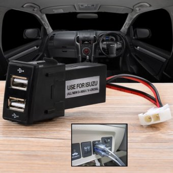 DIY 2.1A Dual USB Car Charger Refit Kit for ISUZU V-CROSS - Black
