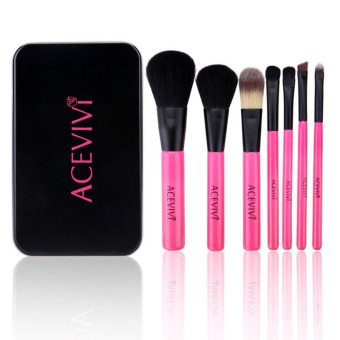 Cyber Professional 7pcs Soft Cosmetic Tool Makeup Brush Set Kit with Iron Box (Black) (Intl)