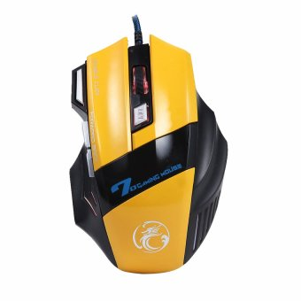 KUNPENG 3200DPI Optical 7D USB Wired Gaming Game Mouse for PC Laptop Yellow - Intl