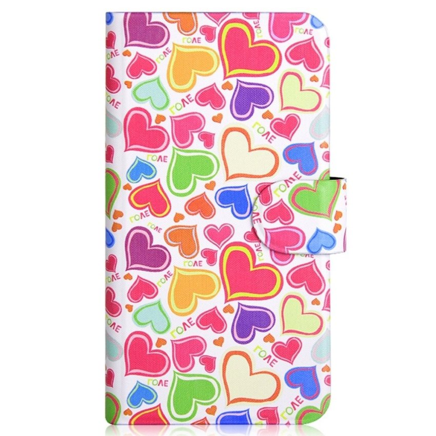 Colorful Love and Heart Design Card Slot Magnetic PU Leather Flip Case Cover Compatible For Samsung GALAXY Win Pro G3812
