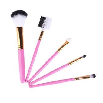 5 PCS Cosmetic Brushes Set for Blush Lip SAUS Pink- Intl
