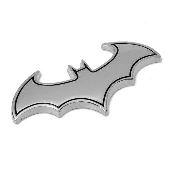 3D Cartoon Bat Metal Badge Emblem Car Truck Motor Auto Window Sticker Decal Logo Silver Black side - Intl