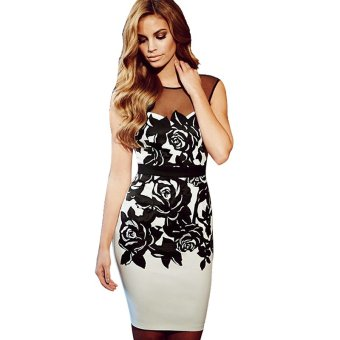 Linemart Sleeveless Lace Floral Dress (Black) - Intl