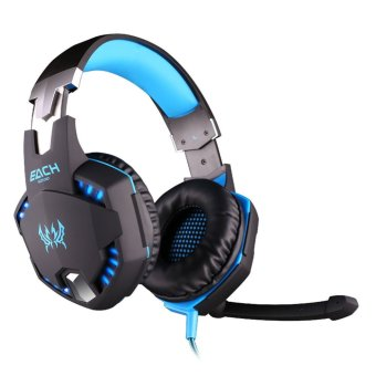 niceEshop EACH G2100 Vibration Function Professional PC Laptop Gaming Headphone Game Headset with Mic Stereo Bass LED Light (Black Blue) - INTL