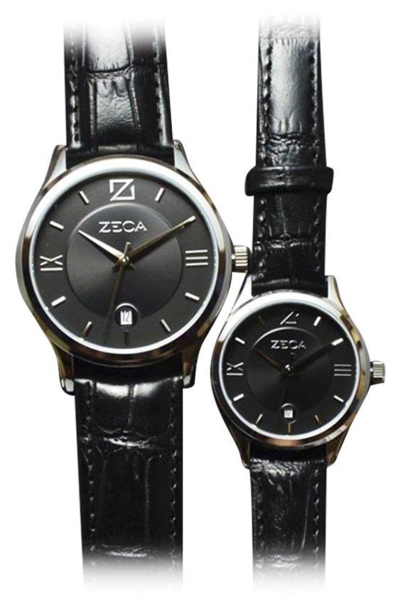 Zeca Jam Tangan Couple - Hitam-Silver - Strap Leather - 312ML SS Black