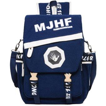 Unisex Stylish Contrast Color Flap Cover Buckle Canvas Casual Bag Backpack Shoulder Bag School Backpack Travel Bag Daypack (Blue)