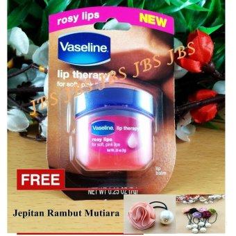 Vaseline Lip Therapy USA Pocket Size 7g - 0.25oz - Rosy Lips + Jepitan Rambut Mutiara