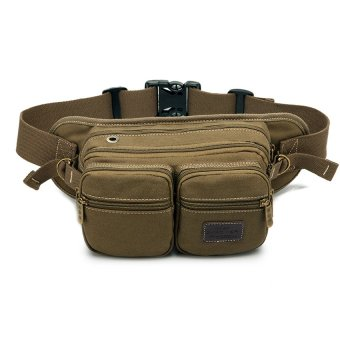 Man Bag Multifunction Pockets Outdoor Leisure Canvas Bag Phone Package Korean Version Of Cycling Sports Bag Messenger Bag Chest Bag Brown Coffee Color - Intl