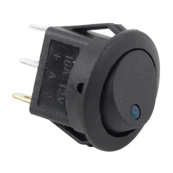 louiwill Black 16A 12V Car Truck Round Rocker Toggle Switch Blue LED SPST (Intl)