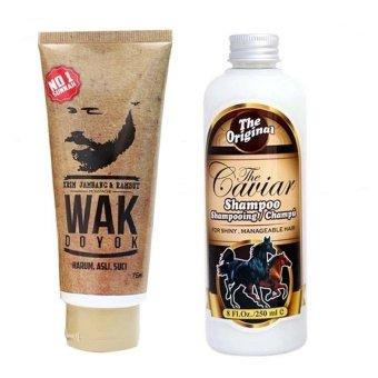 Wak Doyok - Cream Penumbuh Jambang Herbal - Kumis Bulu Jenggot Rambut - 75ml & Shampoo Caviar Kuda Sudah BPOM - 250 ml