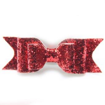 Fashion Women Girls Sequins Big Bowknot Barrette Hairpin Hair Clips Hair Bow Red- Intl