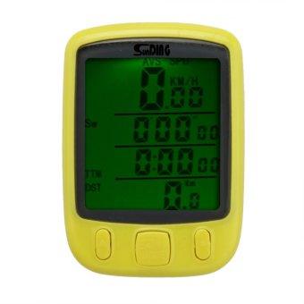 Waterproof Multifunction Cycling Computer Bicycle Speedometer Odometer LCD Backlight Backlit Bike Computer (yellow) - Intl