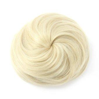Womens Ponytail Clip in/on Hair Bun Hairpiece Hair Extension Scrunchie (Silver White)