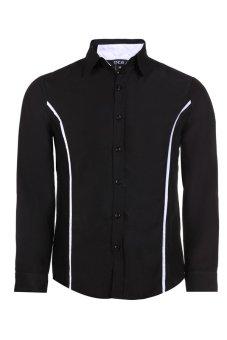 Cyber Men Slim Turn Down Collar Long Sleeve Business Casual Shirt (Black)