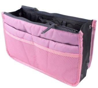 niceEshop Travel Makeup Insert Handbag Organiser Purse Large Liner Organizer Pouch Bag,Pink - Intl