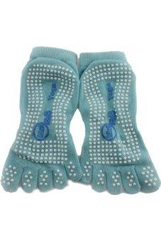 JustCreat Antibacterial Not-slip Cotton Yoga Socks (Light Blue)