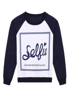 Stylish Women Long Sleeve Letters Print Patchwork Warm Sweatershir Coat Casual Pullover