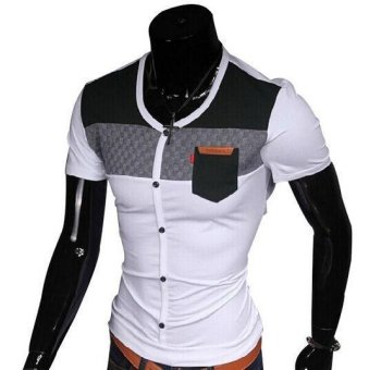 Men Casual T-shirts Brand V Neck Summer Style 2015 Fashion Camisa Male t shirt Camisetas Masculinas Design Cotton Spliced THY523 (Intl)