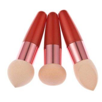Coconie 3PC Women Cosmetic Liquid Cream Foundation Concealer Sponge Lollipop Brush Gold - Intl