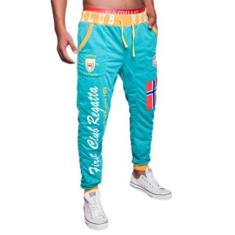 EOZY FASHION Men Sport Sweat Pants Korean Style Male Casual Pants Training Running Jogging Trousers Slacks (Light Green) (Intl)