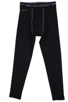 Mans Fitness Pants Plus Velvet with Quick Drying Design Ninth Pants (Black) (Intl)