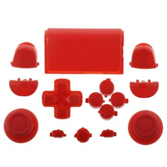 Solid Red Full Buttons Set Replacement Parts for PS4 Controller (Intl)