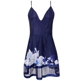 Gracefulvara Sexy Women Summer Deep V Neck Floral Printing Bodycon Dress Casual Party Evening Spaghetti Strap Mini Dress - Intl