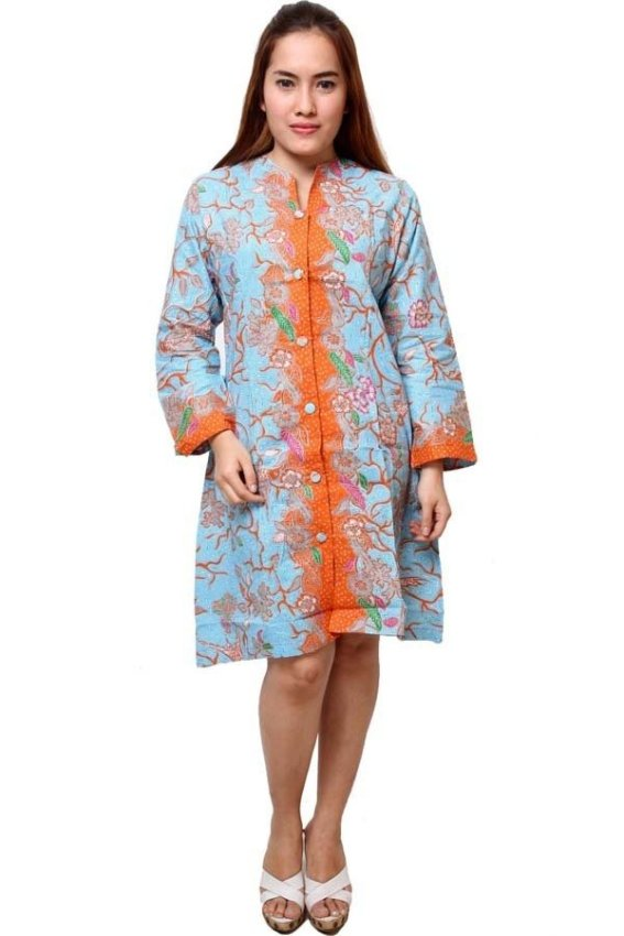 harga Batik Distro BA4219 Dress Wanita Cap Panjang Biru Lazada.co.id