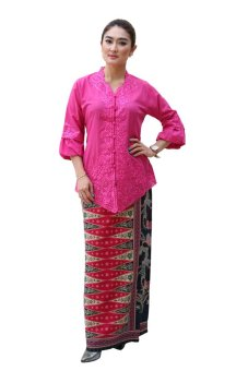 harga Oktovina-HouseOfBatik Set Kebaya Katun & Sarung Batik Semi Sutra - Merah Muda Lazada.co.id