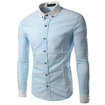 EGC Korean fashion men's shirts long-sleeved shirt NY08(Light Blue) - INTL