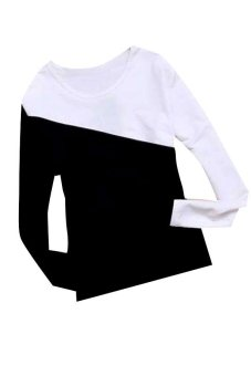 Women Splice Long Sleeve Casual T-Shirt (Black)