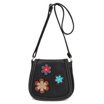 Flowers Decorated PU leather Women Shoulder Bag Casual Crossbody Messenger Bag black - Intl