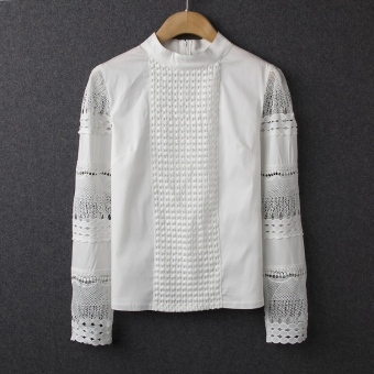 Fashion Office Openwork Crochet Lace Round Neck Long-sleeved White Shirt - Intl