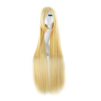 100cm Women Long Straight Sleek Full Hair Wigs with Side Bangs Cosplay Costume Dark Gold (Intl)