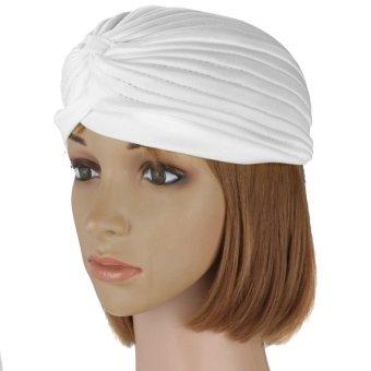 Turban Retro Fitted Head Cover Wrap Hat Cap Hair Loss (white) (Intl)