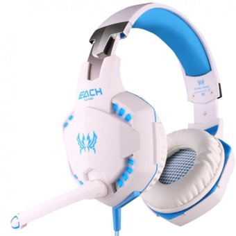 KOTION EACH G2100 Professional 3.5mm LED PC Gaming Bass Stereo Noise Isolation Vibration Headset With Mic Volume Control HiFi Driver For Laptop Computer Skype Online Chatting(White & Blue) - INTL