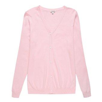 Ladies Cotton Casual Cardigan Pink - Intl