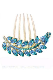 Amango Hair Clips Hairpin Leaves Rhinestone Fashion Blue (Intl)