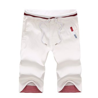 100 %Cotton Men's Casual Pants Baggy Shorts Pockets Cargo Short Pants Trousers ( White) (Intl)