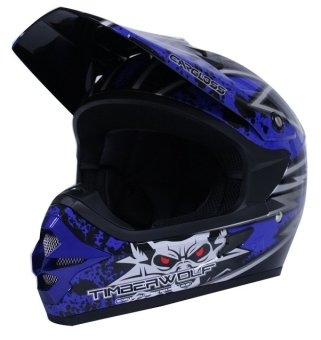 Cargloss Helm Motor Cross Trail - MXC Timber Wolf Black/Blue
