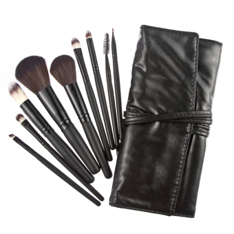 KUNPENG 9 Pieces Eyeshadow Pro Cosmetic Makeup Brush Set Kit Black + CaseBag - Intl