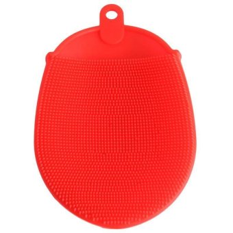 Ai Home Silicone Bath Ball Spa Body Scrubber Horniness Remover Bath Cleaning Brush Chopping Massage Towel (Red) - Intl